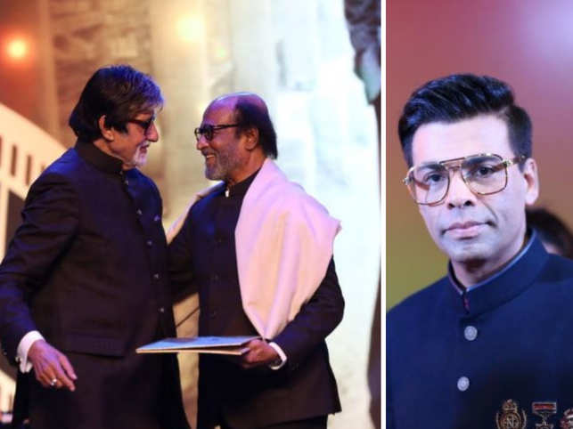 Senior Bachchan honouring Rajinikanth (left) and Karan Johar (right) hosting IFFI 2019.