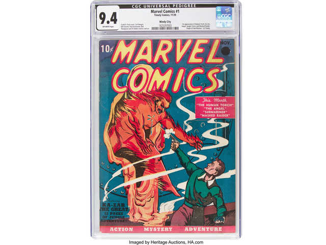 A 1939 near mint-condition copy of Marvel Comics No. 1 fetches $1.26 mn at auction