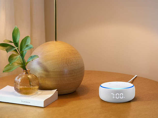 Amazon Echo Dot with Clock can switch on/off lights, play music, give traffic details, help with online purchases, and more 