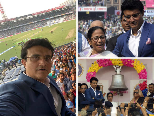 Ganguly takes selfie with the crowd; Dada poses with Didi; Laxman and Bhajji get clicked together at Eden.​