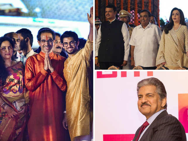 ​Clockwise from left: Uddhav Thackeray with wife Rashmi and son and Yuva Sena chief Aaditya Thackeray; ​Mukesh and Nita Ambani with Devendra Fadnavis; Anand Mahindra.