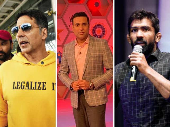 (L-R) Akshay Kumar, VVS Laxman and Yogeshwar Dutt