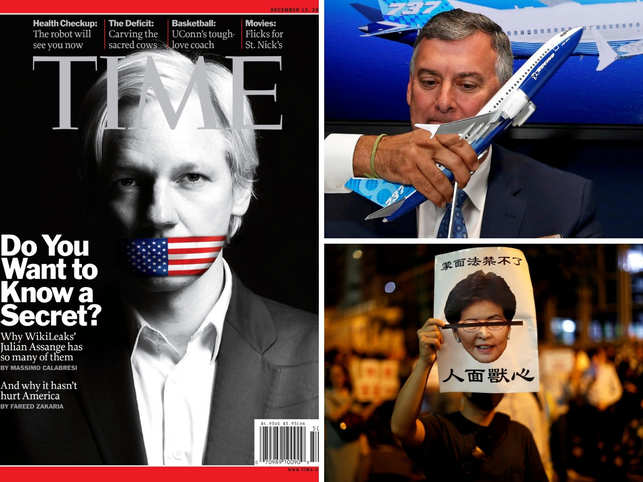 From L-R, clockwise: WikiLeaks founder Julian Assange; Kevin McAllister, Boeing Commercial Airplanes CEO; protest against Hong Kong leader Carrie Lam.