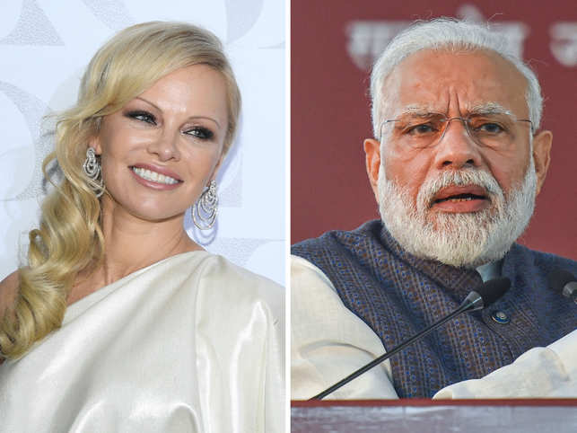 Pamela Anderson (left) urged Narendra Modi (right) to stop serving animal-derived food in government meetings.