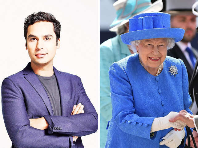 Kunal Nayyar (L), who was meeting the Queen for the first time, had an awkward moment.
