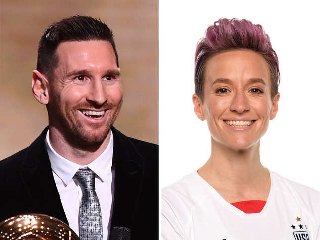 Lionel Messi (L) and Megan Rapinoe (R) bagged the Ballon d'Or  honour.