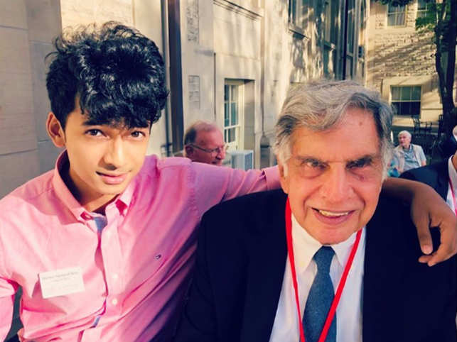 Ratan Tata (R)​ invited Shantanu Naidu​ (L) ​​​to introduce him to his dogs.