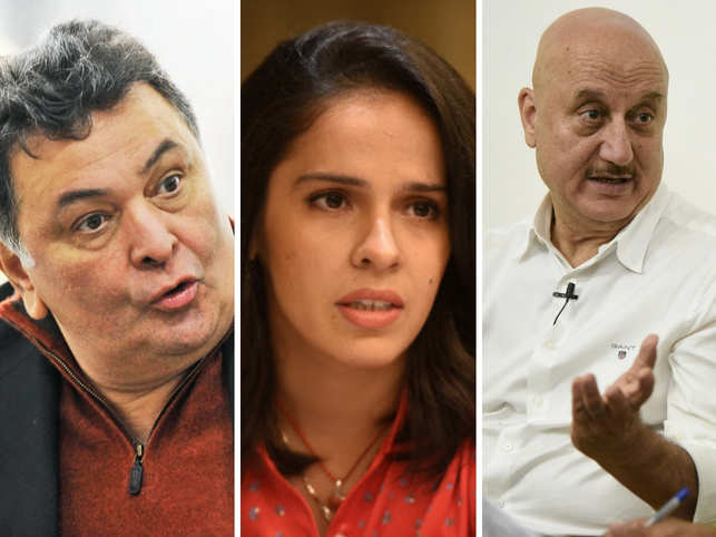 Kapoor (left), Nehwal (centre) and Kher (right) sent out tweets celebrating the move by Telangana police.