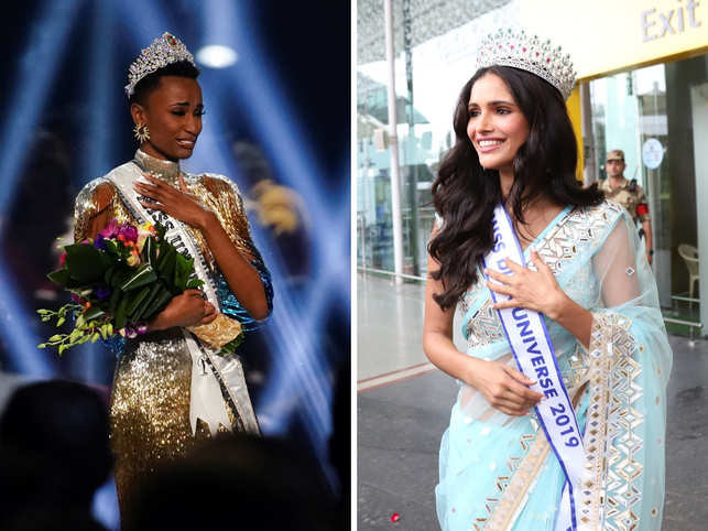 South Africa's Zozibini Tunzi (left) won the coveted crown this year, while Vartika SIngh (right) couldn't make it to Top 10.