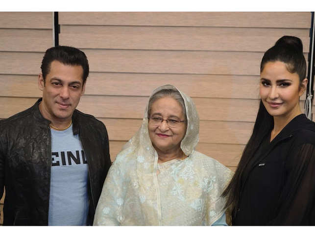 Salman Khan on Sunday took to Twitter to share a picture with Sheikh Hasina and Katrina Kaif, his 'Bharat' co-star. (In pic from left: Salman Khan, Sheikh Hasina, Katrina Kaif)