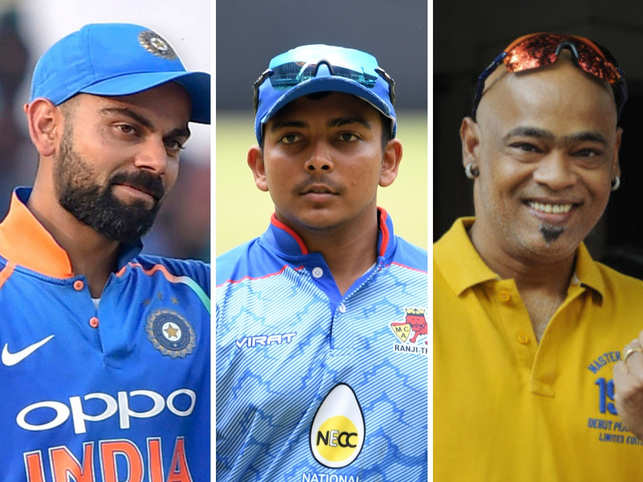 One half said it was clearly Virat Kohli, pointing out how Shaw uses the same bat brand as the Indian captain, while the other half thought it was Vinod Kambli, hinting at similarities in their signatures. (In pic from left: Virat Kohli, Prithvi Shaw, Vinod Kambli)