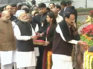 2001 Parliament attack: VP Naidu, PM Modi and other MPs pay floral tributes