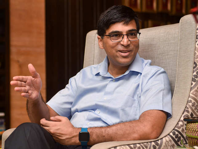 Indian chess legend Viswanathan Anand speaks during an interview, in Chennai, Dec. 12, 2019.