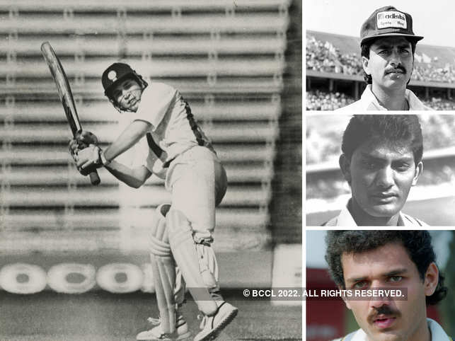 Clockwise from left: Tendulkar plays a shot during 1990s in Bombay; Manoj Prabhakar, Mohammad Azharuddin, and Vivek Razdan.