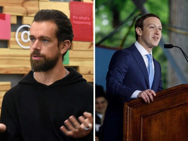 Jack Dorsey (left) unfollowed Facebook CEO Mark Zuckerberg (right).