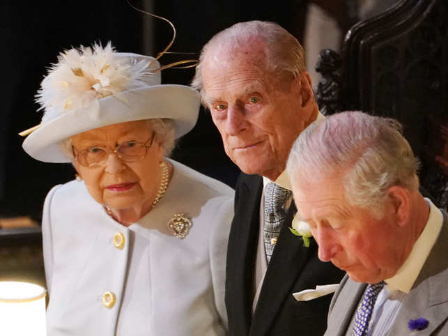 Queen Elizabeth II Prince Philip, Duke of Edinburgh and Prince Charles, Prince of Wales, attend the wedding of Princess Eugenie of York and Jack Brooksbank at St George's Chapel on October 12, 2018 in Windsor, England.