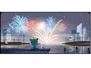 The doodle featured multi-coloured fireworks and 'Froggy - the weather frog' with a bird wearing celebratory cap