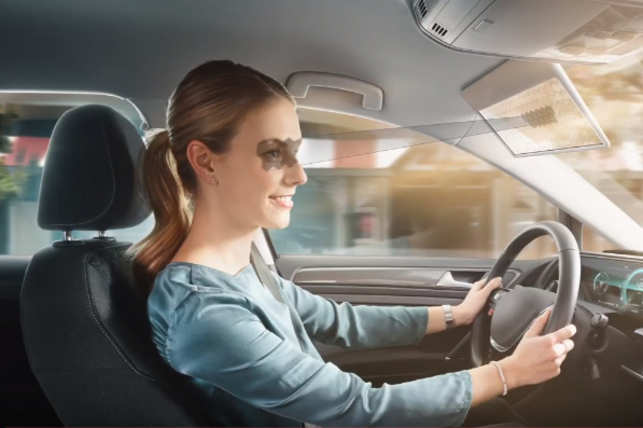 The virtual visor uses AI to block the glare of the sun from drivers' eyes.