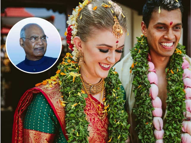 In a Twitter post, the bride - ​Ashley Hall - ​said she was blown away by the generosity and kindness of President Kovind (inset).