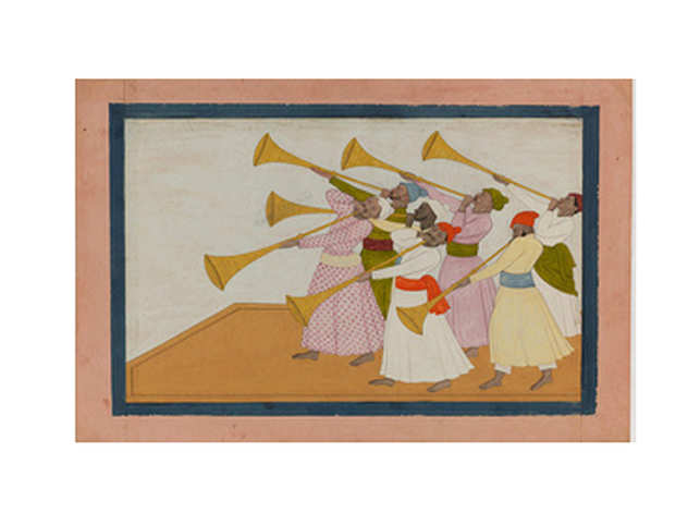It shows seven musicians playing Pahari horns with long pipes known as turhi, their cheeks puffed out with the effort.