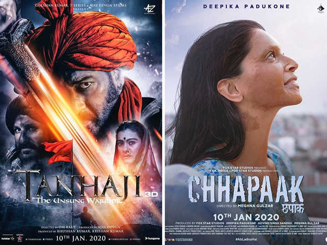 'Tanhaji', in Taran's words, had a 'heroic' weekend and ended up raking in Rs 61.75 cr. 'Chhapaak', on the other hand, had a lukewarm response with Rs 19.02 cr.