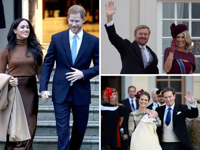 Clockwise from left: Prince Harry and Meghan, Dutch King Willem-Alexander and Queen Maxima; Sweden's Princess Madeleine and Christopher O'Neill with their son Prince Nicolas.