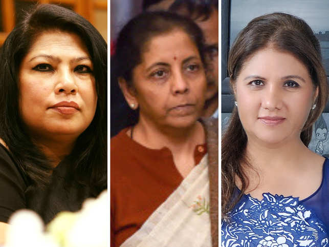 While Dr Aparajita Gogoi (L) expects a robust and diligent allocation of funds on women-related policies, Manju Yagnik (R) hopes FM Nirmala Sithraman (C) enhances consumer spending and boosts infrastructure.