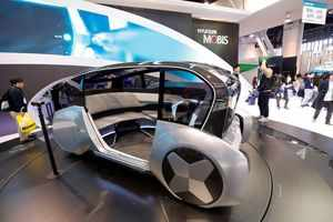 The M Vision S, a hydrogen fuel cell-powered, autonomous concept car, is displayed at the Hyundai Mobiis booth during the 2020 CES in Las Vegas
