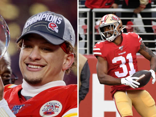Quarterback Patrick Mahomes (left) was once again the star for the Chiefs. For the 49ers, running back Raheem Mostert (right) had a memorable game.