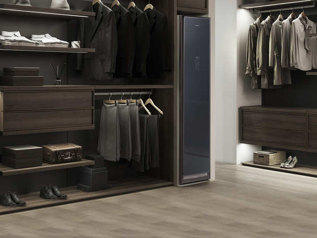 Samsung AirDresser is designed to be a free-standing closet, which has a compartment that cleans and straightens your clothes after they are placed on the hangers. 