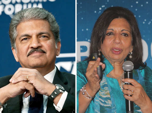 Indian billionaire Anand Mahindra (left), shared a video with his 7.4 million Twitter followers which was retweeted by Kiran Mazumdar Shaw (right).