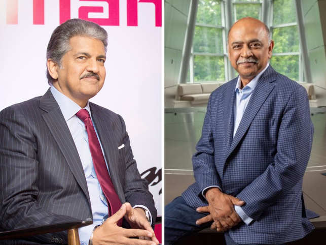 Anand Mahindra (left) congratulated Arvind Krishna (right).