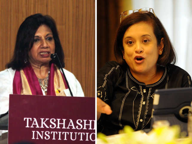 Shaw (left) celebrated end of tax harassment; Ghosh (right) lauded end of manual scavenging.