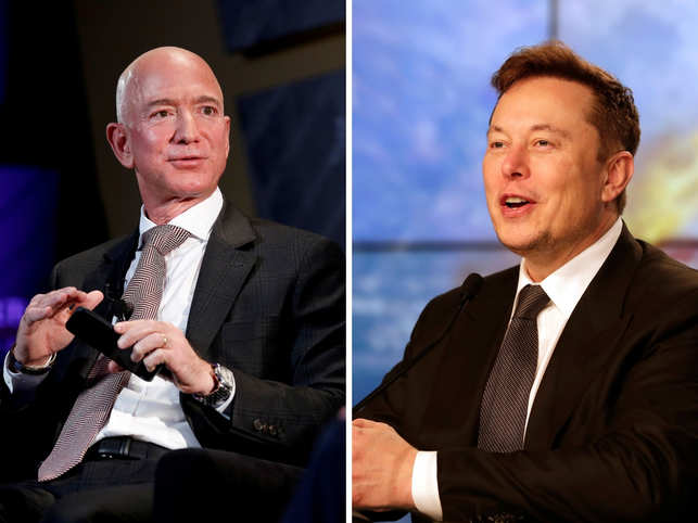 No one, not even Bezos (left), is having as good a start to the decade as Tesla Inc. Chief Executive Officer Elon Musk (right).