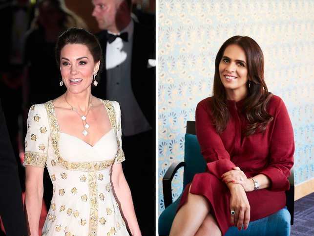 ​Anita Dongre (R) feels the fashion industry should celebrate ​how fashion icons ​like Duchess of Cambridge (L) repeats looks.
