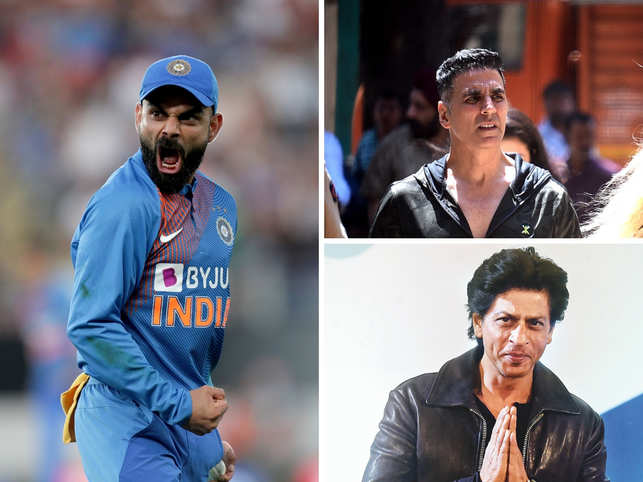 Kohli leads the list, with actor Akshay Kumar at the second spot and SRK comes in at the fifth spot.