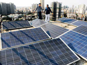 A rooftop installation in Kandivali. India badly needs to tap clean energy sources