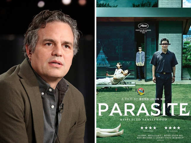 The characters in the series will not necessarily mirror those in the film. In pic - Mark Ruffao (L) and 'Parasite' poster (R)