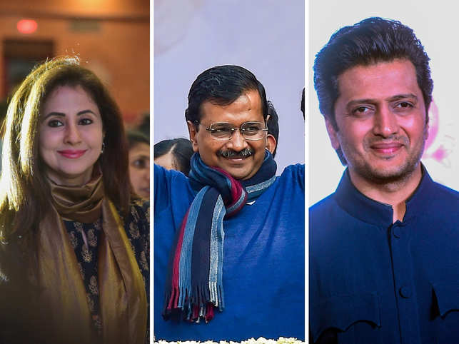 ​Urmila Matondkar (left) and Riteish Deshmukh (right) took to Twitter to congratulate Arvind Kejriwal (centre).