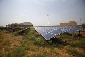 Solar panels are seen inside the premises of Jaisalmer Airport in the desert state of Rajasthan