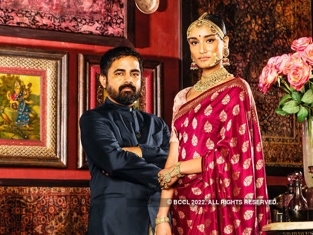 Sabyasachi Mukherjee with Kanishtha at his new store in Fort.