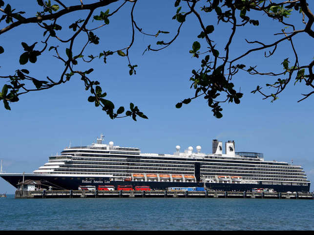 A general view of the Westerdam cruise ship docked at Sihanoukville port.