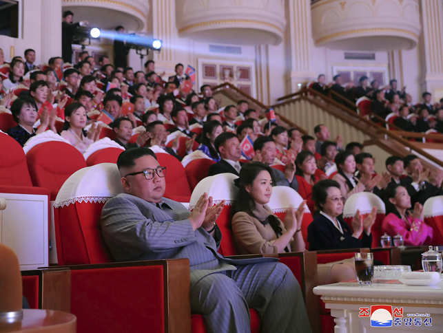 File photo: In this photo provided by the North Korean government on January 25, 2020, the North Korean leader Kim Jong Un (L) claps with wife Ri Sol Ju (C) and aunt Kim Kyong Hui (2nd R) as they attend a concert celebrating Lunar New Year's Day in Pyongyang, North Korea. Independent journalists were not given access to cover the event depicted in this image distributed by the North Korean government. The content of this image is as provided and cannot be independently verified. Korean language watermark on image as provided by source reads: 'KCNA' which is the abbreviation for Korean Central News Agency. (Korean Central News Agency/Korea News Service via AP)