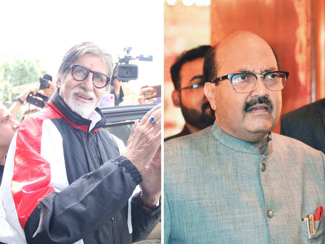 Amar Singh (right) issued an unconditional apology to Amitabh Bachchan (left).