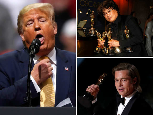 Donald Trump Mocks 'Parasite' Oscar and 'Little Wise Guy' Brad Pitt
