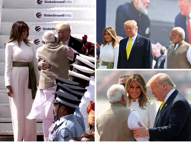 Namaste Trump Pm Modi Welcomes Us President With A Hug Twitter