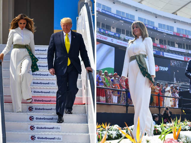 While her husband, US president Donald Trump paired his dark suit with a buttercup yellow tie, Melania opted for crepe and silk in keeping with the weather.