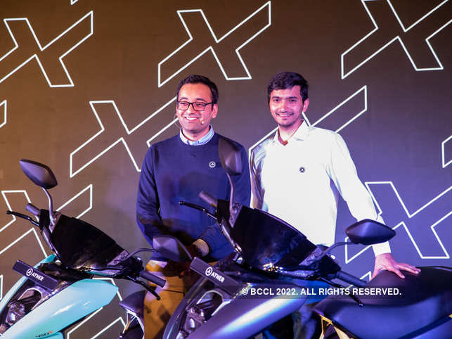 Tarun Mehta and Swapnil Jain, co founders of Ather Energy, with the new Ather 450X at the launch.