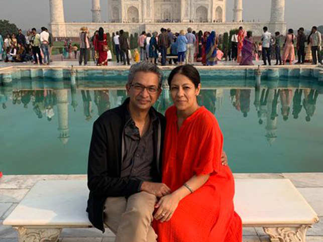 Rajan Anandan​ (L) said that ​being surrounded by entrepreneur-wife Radhika Chopra (R) ​has had a positive impact on their daughter.​
