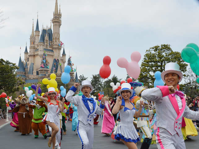 File photo of 2013: Disney characters and dancers parading as Tokyo Disneyland celebrates its 30th anniversary in Urayasu.
